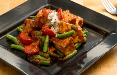 image of a vegan tofu prik king stir fry