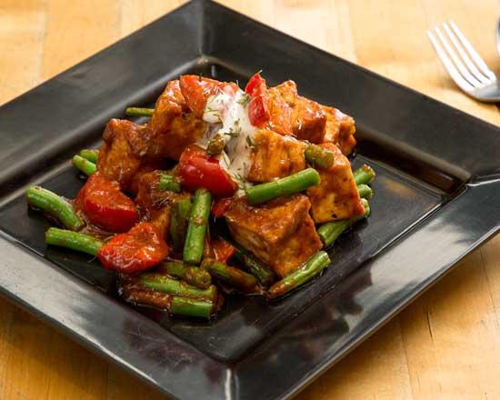 image of a vegan tofu prik king stir fry