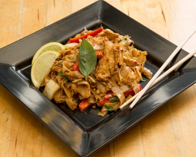 an image of our drunken noodles stir fry