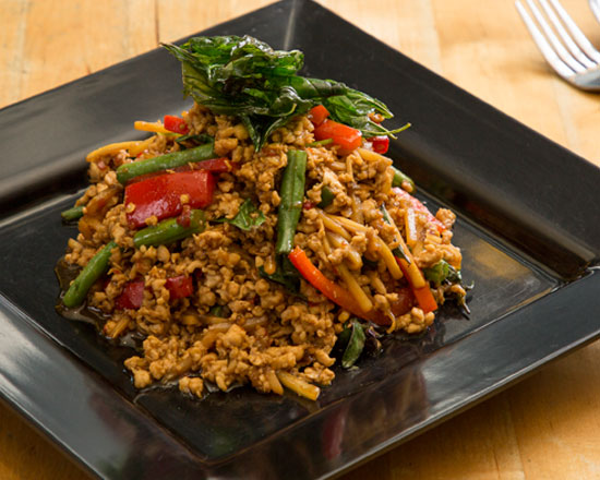 an image of our thai style chicken basil stir fry