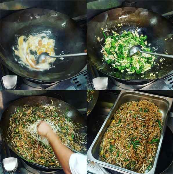 collage of images - the process of cooking large quantity of pad thai for catering